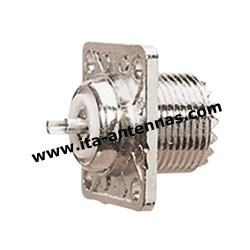 PLC4T F, connecteur PL châssis carrée 4 trous femelle